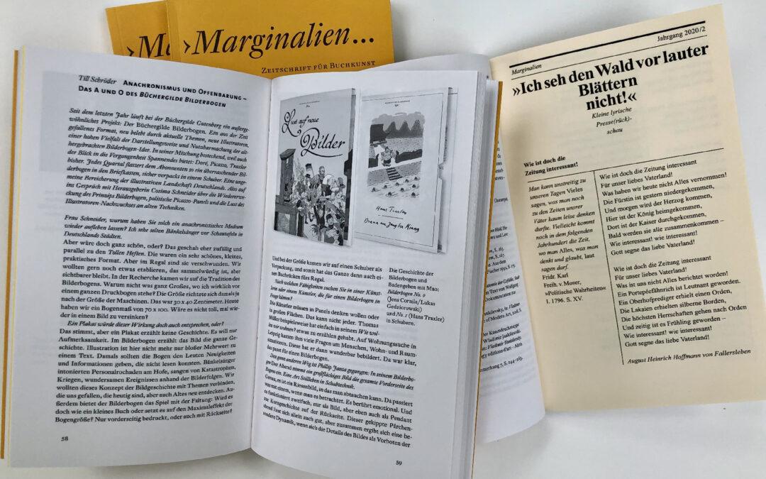 Bibliophile Zeitschrift «Marginalien» beim 57.ADC-Wettbewerb ausgezeichnet!